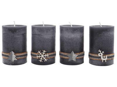4 Adventskerzen Kerzen Stumpenkerzen Grau Silber Holz Weihnachten