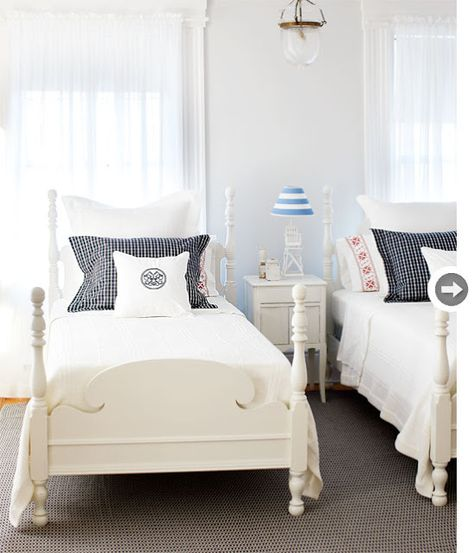 Painted Cottage Beach Style, white painted twin beds