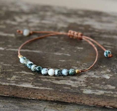 Handmade Natural Tree Agate Stone Adjustable Bracelet #agate #gems #gemstone #crystalhealing #bracelet #beads #boho