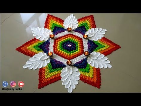BEST UNIQUE RAINBOW RANGOLI FOR DIWALI YOU HAVE EVER SEEN | RANGOLI ART AND DESIGNS BY SNEHA J |