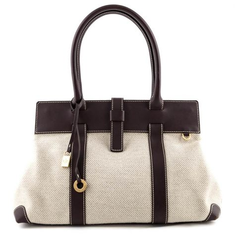 Loro Piana Brown Leather Trimmed Canvas Tote Leather Canvas Tote Designer Shoulder Bags