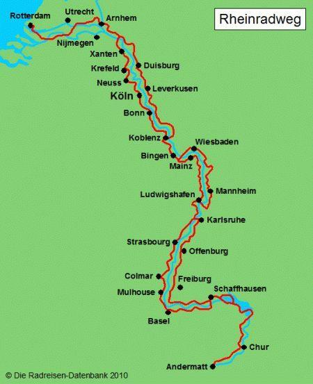 Karte Von Rheinradweg Radfahren Karte Von Rheinradweg Fietsvakantie Fiets Vakantie Kaarten