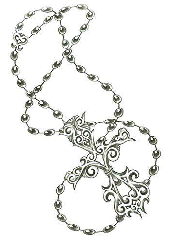Catholic Rosary Beads & Cross Temporary Body Art Tattoos…