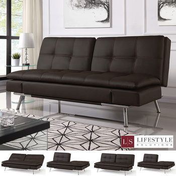 Ravenna Brown Bonded Leather Euro Lounger Convertible Sofa Bed