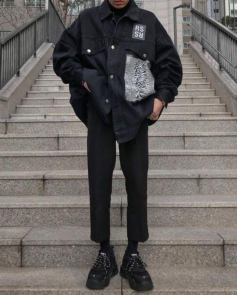 Men's streetwear outfit, balenciaga triple-s sneakers