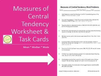 Measures Of Central Tendency Mean Median Mode Worksheet Task