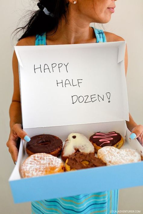 6 Unique Year Anniversary Gift Ideas Iron, Sweets, and Wood Theme Happy Half Dozen Donuts! Six Year Anniversary Gift, Anniversary Gift Ideas For Him Boyfriend, Dating Anniversary Gifts, 6th Wedding Anniversary, Homemade Anniversary Gifts, Cute Anniversary Ideas, Aniversary Ideas, Boyfriend Gifts, Anniversary Breakfast
