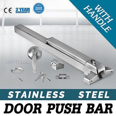 Door Push Bar Handle Panic Exit Device Lock Roller Strike Crowded Public Ebay Link Stainless Steel Doors Safe Lock Doors