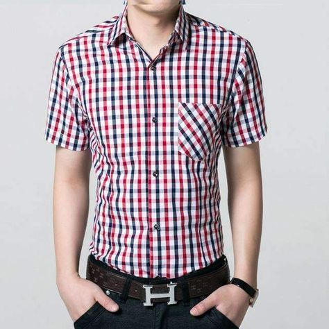 Red And Black Plaid Shirt Men Chemise Homme Checkered Shirts Short Sleeve Shirt