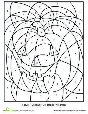 Halloween Color By Number Worksheet Education Com Halloween Coloring Coloring Pages Halloween Color By Number