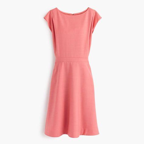 30fb5360b7 J.Crew Womens Petite Cap-Sleeve Dress In Super 120S Wool (Size 00 Petite)