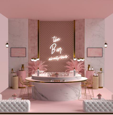 Booth Design for Beauty Co Kuwait on Behance Beauty Room Decor, Beauty Salon Decor, Beauty Salon Interior, Makeup Studio Decor, Spa Room Decor, Massage Room Decor, Beauty Salon Design, Nail Salon Design, Nail Salon Decor