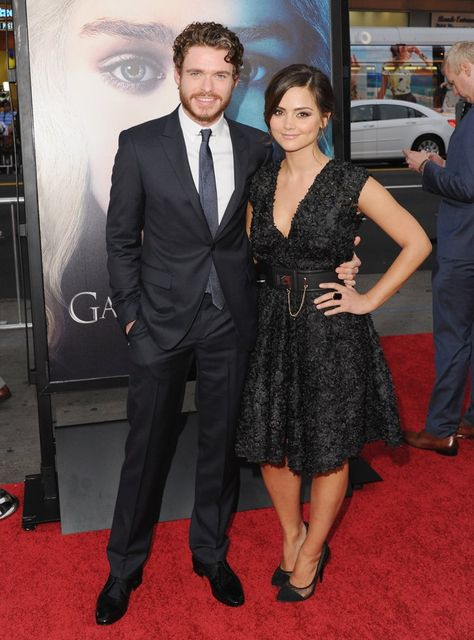 Pin for Later: A Look Back at Jenna Coleman's Rise to Stylish Stardom  Supporting boyfriend Richard Madden at the Game of Thrones season-three launch party, Jenna wore a pretty lace dress with a full skirt.