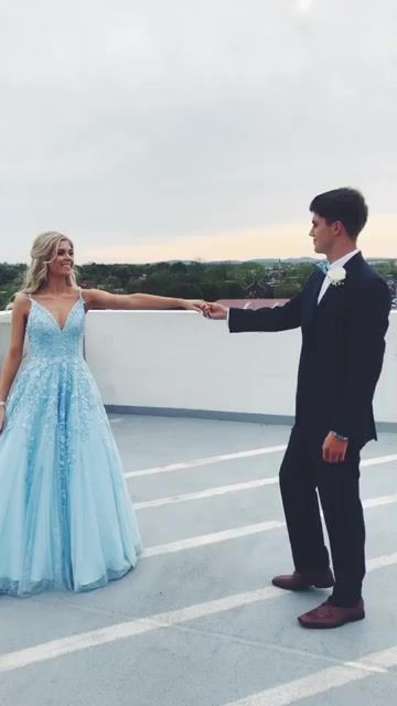 Tulle and Lace Prom Dresses Wedding Party Dresses - Bal de Promo Pretty Prom Dresses, Prom Dresses Blue, Dance Dresses, Homecoming Dresses, Baby Blue Homecoming Dress, Blue Lace Prom Dress, Straps Prom Dresses, Bridesmaid Dresses, Pageant Dresses