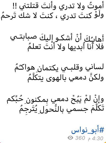 شعر فصيح ابو نواس Beautiful Arabic Words Arabic Words Arabic Language