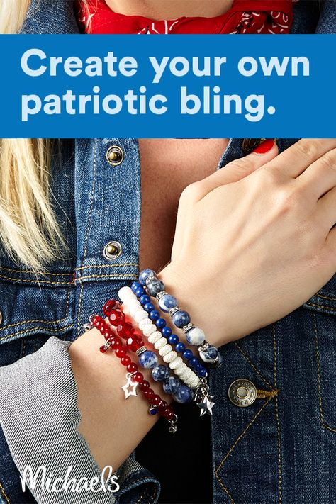 Red, White, And Blue Stacking Stretch Bracelets