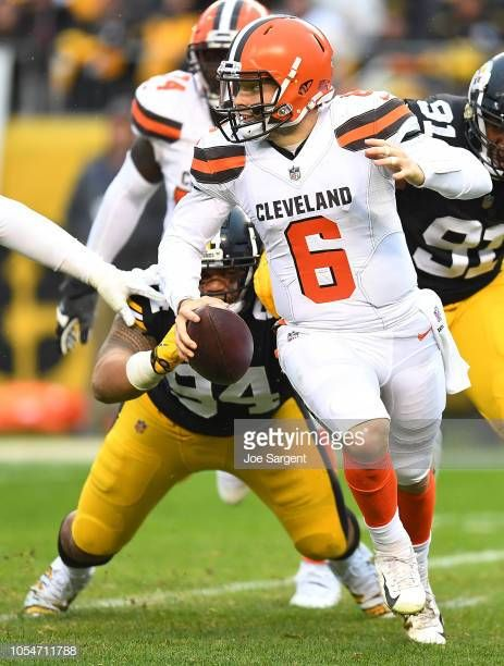 1b6a70621 Baker Mayfield of the Cleveland Browns scrambles out of the pocket ...
