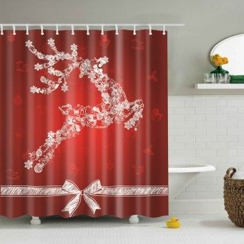 Christmas Product Waterproof Bath Shower Curtain Christmas