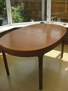 Nathan oval teak extending dining table & 6 chairs 60/70\'s retro ...