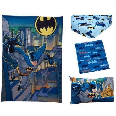 3 Piece Blue Black Kids Batman Toddler Bed Set Gray Yellow Bat