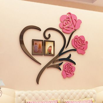 3d Wall Stickers Flower Acrylic Modern, Wall Decals For Living Room