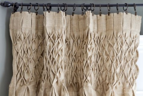 wow. smocked burlap curtains