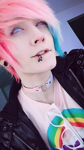 I need thoose contacts rn   pastel goth boy   Tumblr