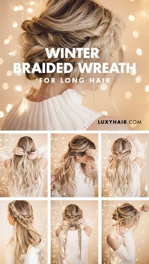 Braided Halo Hairstyle Easy Updo For Long Hair Braided Halo Hairstyle Long Hair Updo Long Hair Styles
