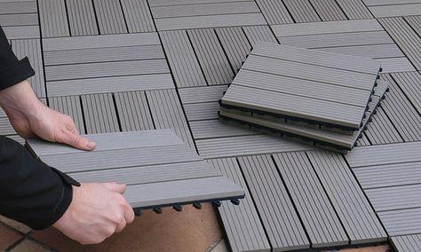 Robuste Fliesen aus Holz-Kunststoff-Gemisch mit Click-System für Terrasse, Balkon oder im Wintergarten, auch als Weg verlegbar