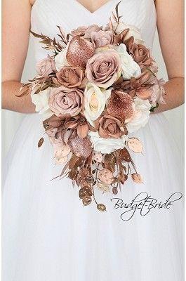 Rose Gold Bling Glitter Jewel Wedding Flowers Cascading Bouquet Artificial Flower Cheap B Gold Wedding Flowers Rose Gold Wedding Flowers Bridal Wedding Flowers