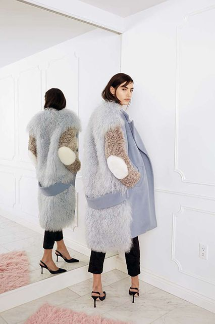 Sandy Liang - Mingo Wool and Shearling Coat, available at Lust Covet Desire
