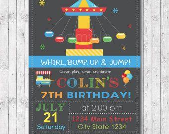 Amut Park Birthday Invitation Card Luna Blue Boy Digital Printable File Birthdays Invitations