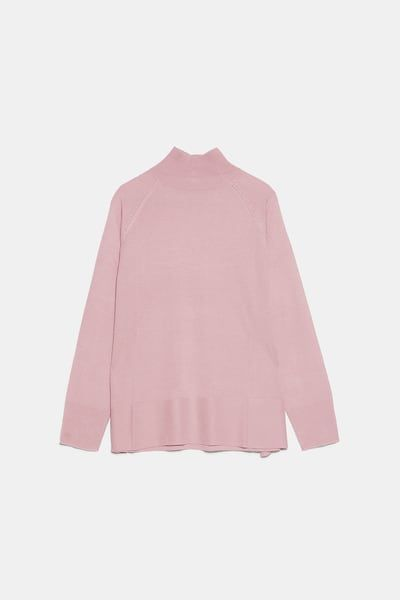 Jersey Cuello Perkins Cuello Alto Punto Mujer Zara España Mock Neck Sweater High Neck Knitwear High Neck Sweater