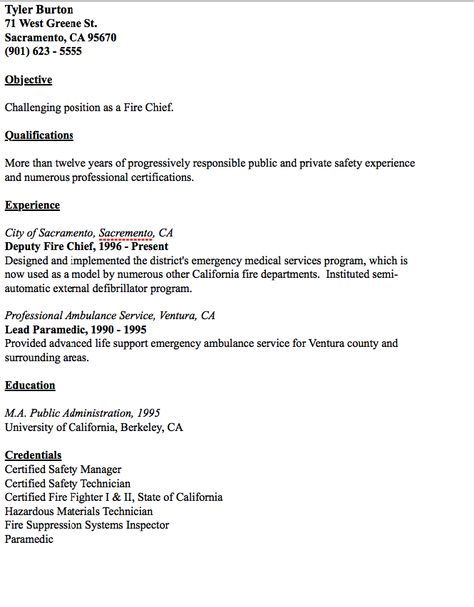 Example of Fire Chief Resume - http\/\/resumesdesign\/example-of - fire fighter resume