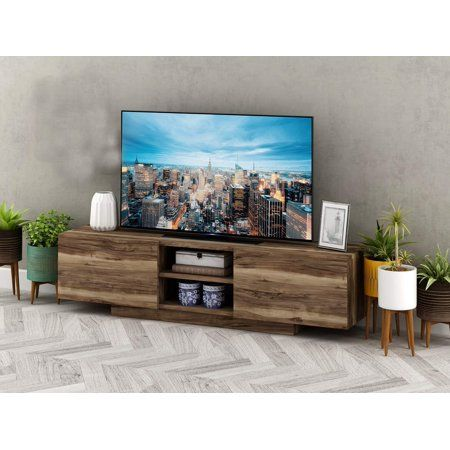 Whalen 3 Shelf Television Stand With Floater Mount For Tvs Up To 55 Perfect For Flat Screens Weathered Dark Pine Finish Walmart Com Living Room Entertainment Center Tv Stand With Mount 2
