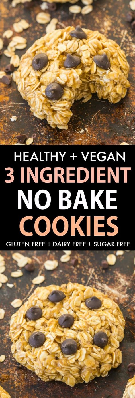 These easy 3 ingredient NO BAKE Oatmeal Cookies are a quick 5-minute recipe to satisfy ALL cookie and snack cravings! Made without peanut butter, without milk and completely sugar free and vegan! #nobakecookies #oatmealcookies #vegancookies #veganrecipe #glutenfreerecipe