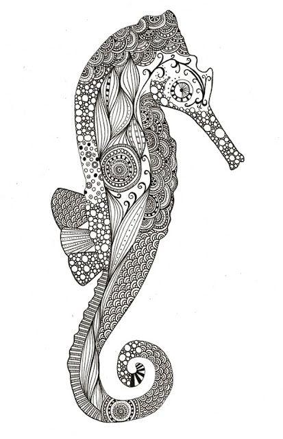 seahorse doodle design black ink line drawing