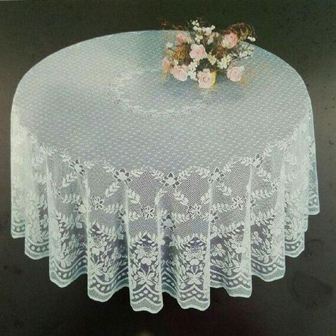 Fine White Lace Tablecloth In 90 Inch Round Floral Design