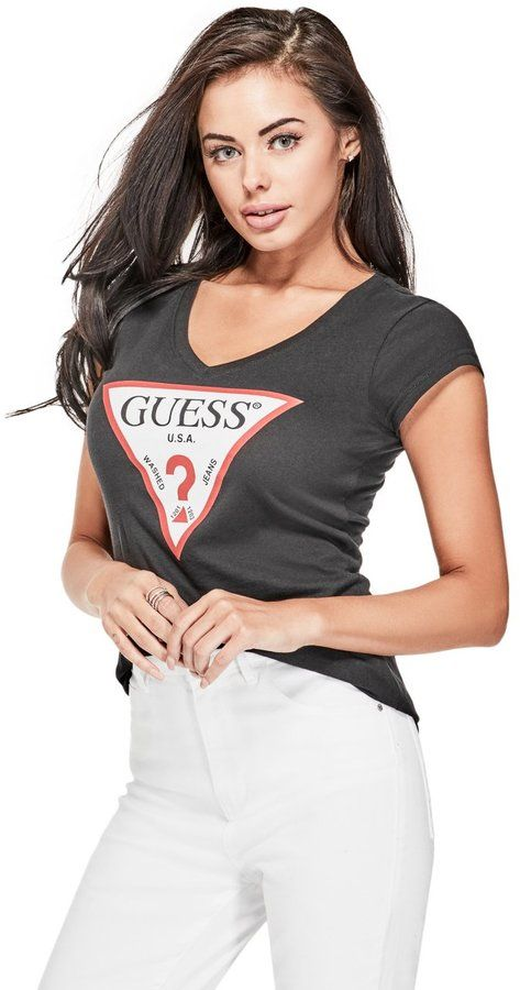 2ad9fea77f83 GUESS Women's Classic Triangle Logo Tee | Tshirt the day in 2019 ...