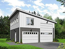 Modern Style Garage Living Plan 51589 With 1 Bed 2 Bath 3 Car Garage Garage Plans With Loft Garage Plans Detached House Plans