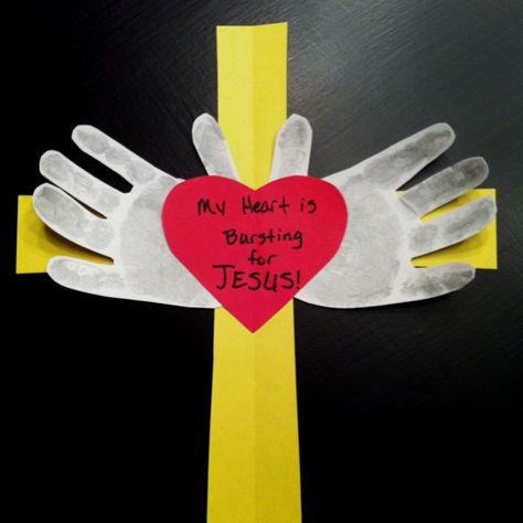 """My sis needed a craft for 2yr old Sunday school class valentines project. This is what I came up with. She already had the """"my heart is bursting for Jesus"""" part."""