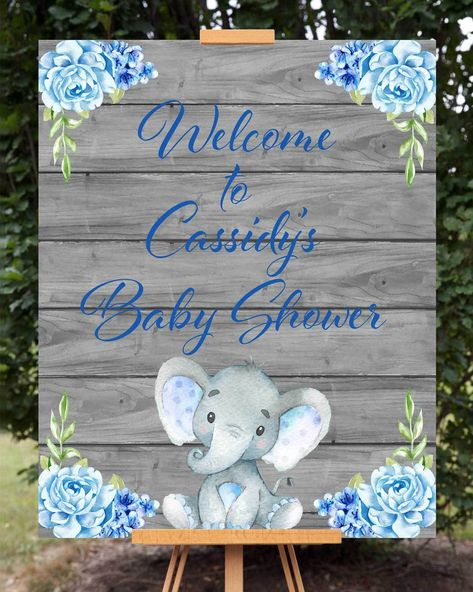 Blue Elephant Baby Shower Welcome Sign