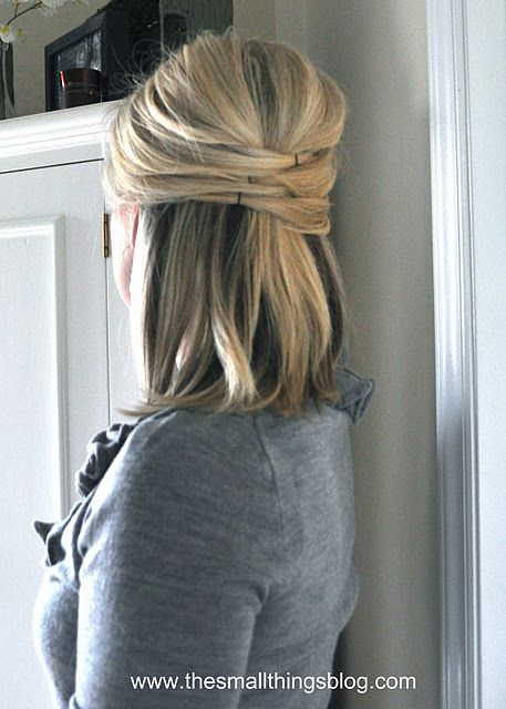 I tried this, but it just didn't turn out.  I'm apparently not coordinated enough to put bobby pins in my hair vertically while looking in the mirror!  Too bad because this is so cute!