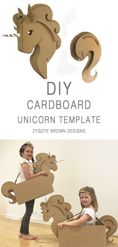 Photo of DIY Karton Einhorn Kostüm TEMPLATE von Zygote Brown Designs
