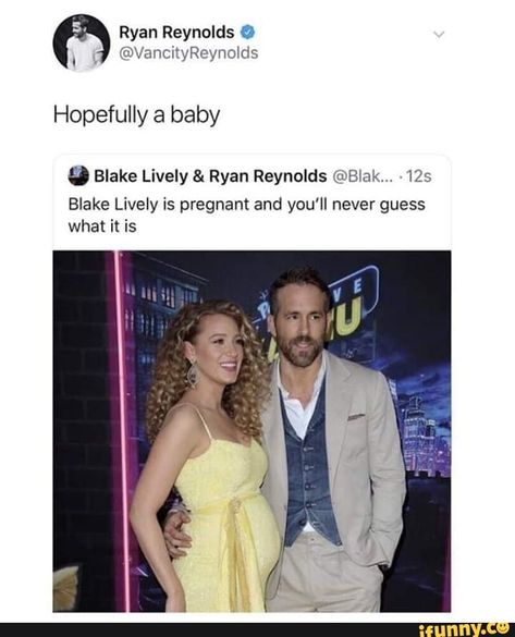 blake lively Hopefully a baby Blake Lively & Ryan Reynolds (:ixBrak. 125 Blake Lively is pregnant and you'll never guess what it is popular memes on the site Stupid Funny Memes, Funny Relatable Memes, Funny Posts, The Funny, Hilarious, Funny Stuff, Funny Quotes, Blake Lively Ryan Reynolds, Ryan Reynolds Tweets