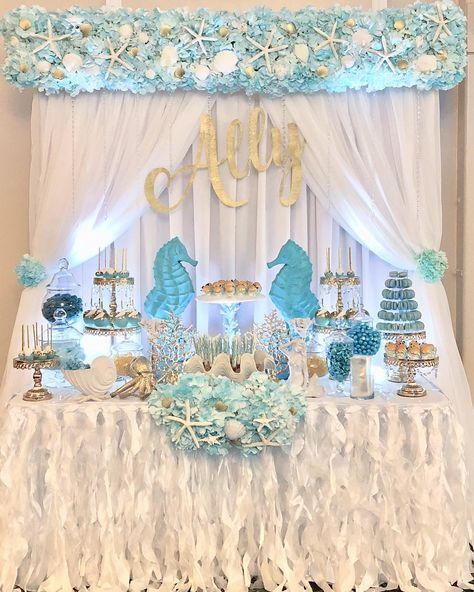 Calling all mermaids 🧜‍♀️. Sweet dessert and candy table