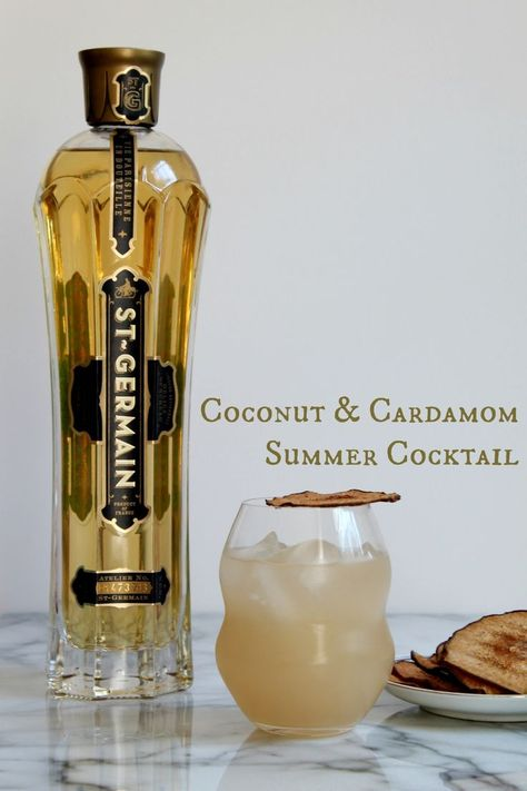 Coconut & Cardamom Summer Cocktail - 1 tbsp Cardamom syrup 1 tbsp Cardamom pods, green cup Granulated sugar part Gin 2 parts Coconut water cup Water 1 part St. Fancy Drinks, Summer Drinks, Cocktail Drinks, Cocktail Recipes, Alcoholic Drinks, Beverages, Margarita Recipes, Cocktail Ideas, Bourbon Cocktails