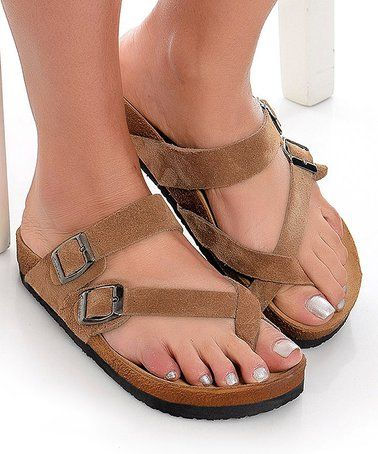 954115615c7ed This Brown Double-Buckle Toe Strap Leather Sandal - Women is perfect!  #zulilyfinds