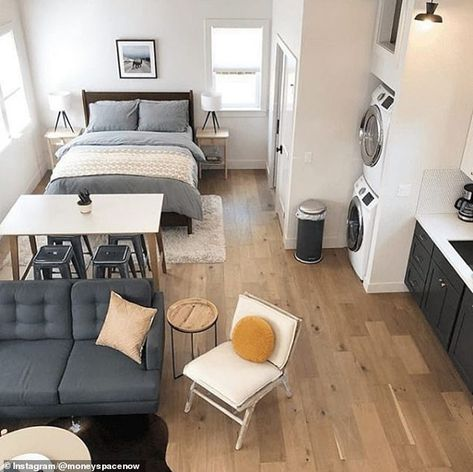 Looking for a sweet place to stay in Portland? Check out the new Woodlawn Retreat Airbnb designed by This beautiful ADU includes a kitchen, laundry, sleeping loft and our Alto and Isle lights. Studio Apartment Layout, One Room Apartment, Small Apartment Interior, Small Apartment Living, Studio Apartment Decorating, Tiny Studio Apartments, Studio Apartment Kitchen, Studio Layout, Modern Studio Apartment Ideas