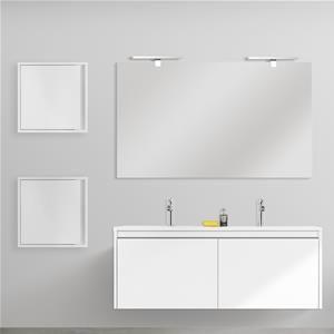 Doppio Mobile Sospeso 120 Cm Bianco Opaco Con Specchio E Due